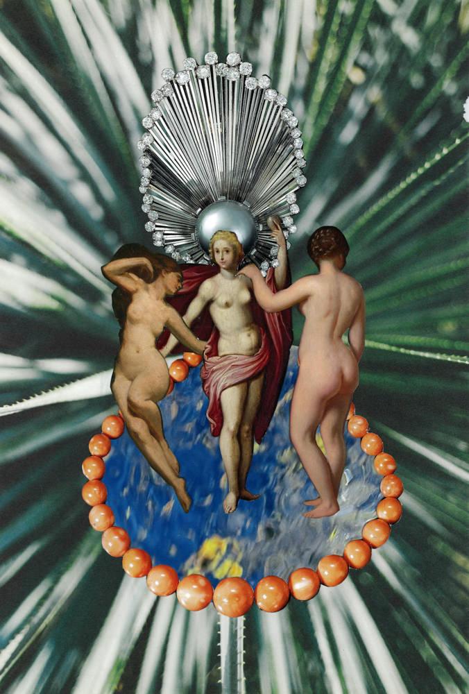 FAF Divine Feminine energy 2018 paper collage cm 25,5x37