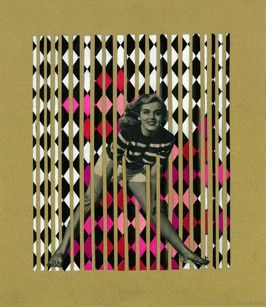 FAF_Golden Cages_Femininity_2016_paper collage, glitter, acrylic_ cm 42x37